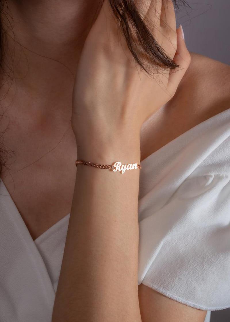 Индивидуальный именной браслет Sherman, кубинская цепь, персонализированная цепь из нержавеющей стали, лучший подарок для женщин, ювелирные из... браслет цепь opk 856 ph856