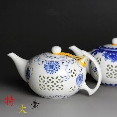 500 مللي سيراميك زجاج مجوف إبريق الشاي الأزرق والأبيض المنزل الكونغ فو الشاي الأسود جين جون مي شاي بالأعشاب المزهرة كبير تيوير شحن مجاني