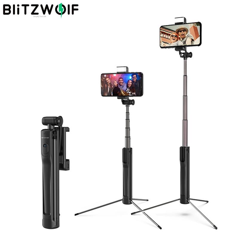 Blitzwolf BW-BS8 LED ملء ضوء Selfie عصا 3 في 1 للتمديد بلوتوث ترايبود Monopod لفون ل سامسونج Xiaomi كاميرا