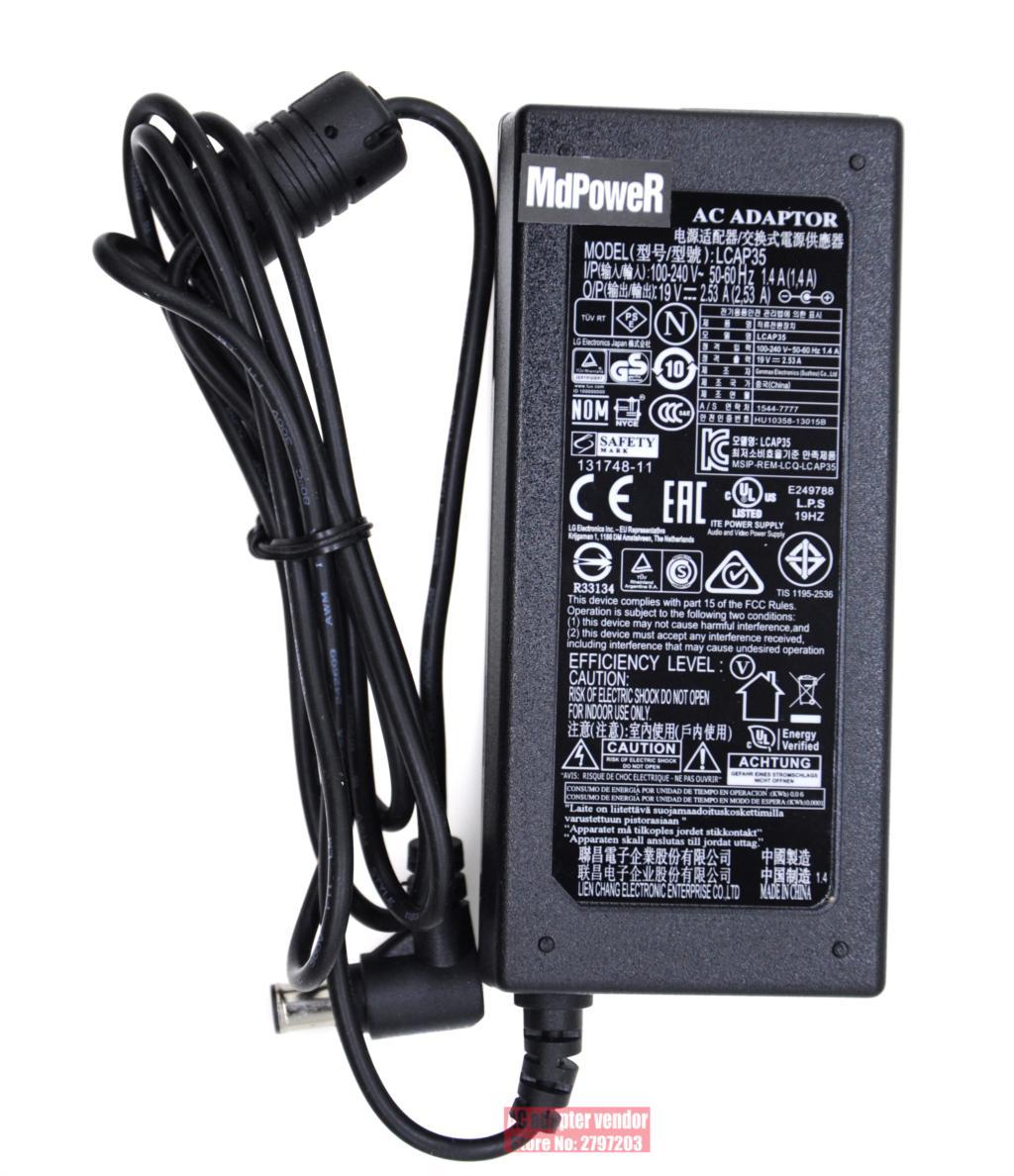 الأصلي الجديد لشركة إل جي شاشات كريستال بلورية LED TV 19 فولت 2.53A LCAP35 التيار المتناوب محول التيار الكهربائي شاحن الحبل