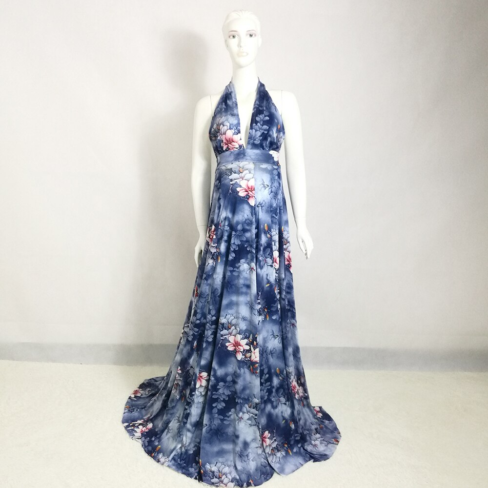 Don&Judy Sexy V-neck Pregnant Dress Pregnancy Dress for Maternity Photo Props Blue Floral Evening Dresses Party Gown 2020 enlarge