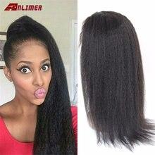 Perruque Lace Front wig sans colle brésilienne Remy-Anlime   Cheveux naturels, Yaki, nœuds décolorés, avec Baby Hair, 13*6, densité 130%