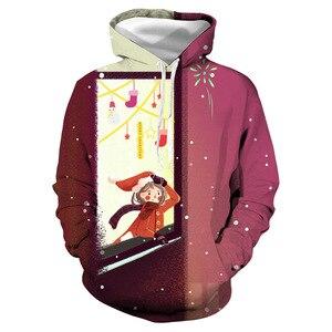 Unisex Christmas Girls Window 3D Digital Print Loose Hooded Sweater Pullover Women Men Xmas New Year Baseball Sweatshirt Hoodie