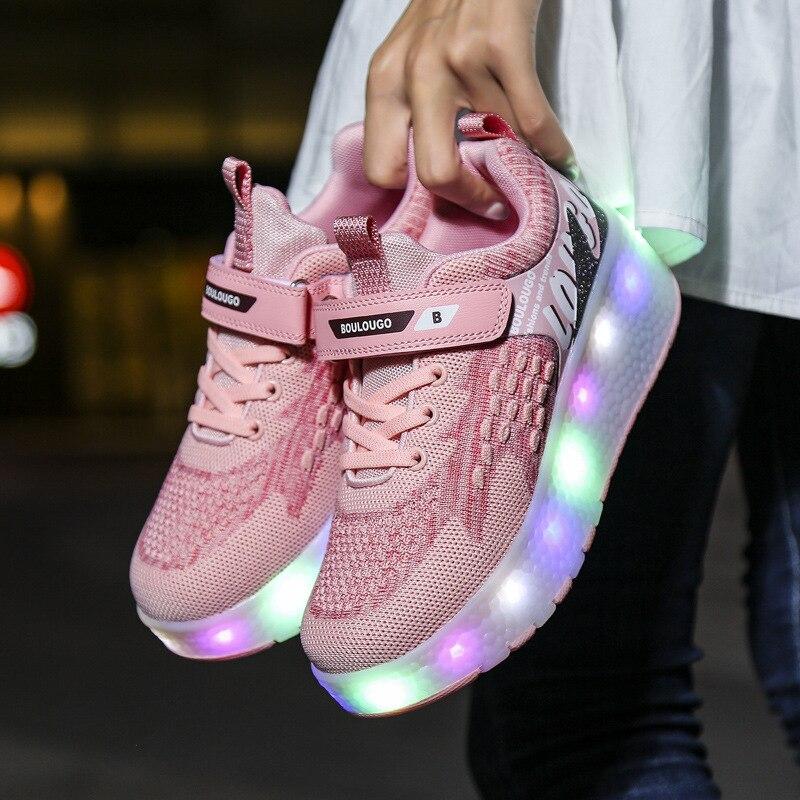 2021 Kids Two Wheels Roller Sneakers Boys Girl Sneakers LED Shoes Winter Autumn Children Luminous Footwears Skates Casual Shoes enlarge