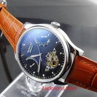 Fashional PARNIS Men Watch 43mm Black Dial Power Reserve Indicator Date Wristwatch ST2505 Movement