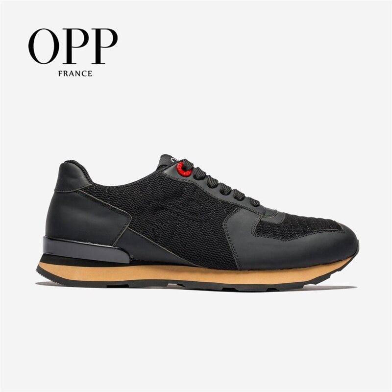 OPP-أحذية رياضية جلدية للرجال ، أحذية صيفية ، أحذية خارجية كبيرة الحجم ، شبكية ، غير رسمية ، قابلة للتنفس ، للجري