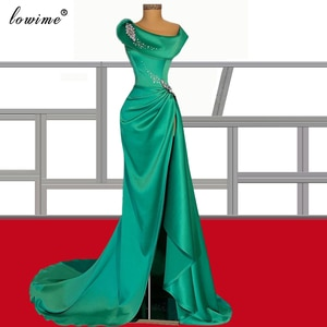 Gorgeous Green Cocktail Dresses 2021 Long Crystals Prom Party Gowns African Celebrity Dresses For Woman Robes De Cocktail