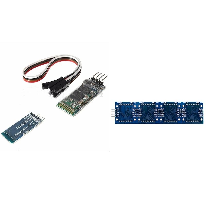 Hot-Blue 4 Pin HC-06 RS232 inalámbrico Bluetooth RF 5V módulo transceptor y MAX7219 línea de microcontrolador Dot Módulo de matriz