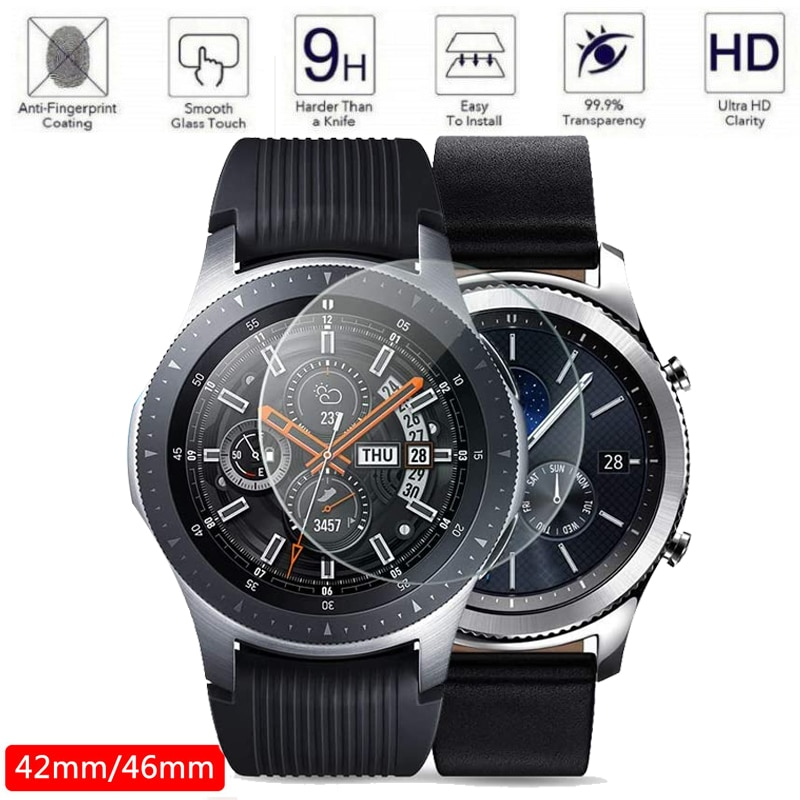 Часы Galaxy watch, 46 мм, для samsung gear S3 Frontier Galaxy watch, 42 мм, gear, спортивный ремешок, защита экрана 9H, 2.5D, закаленное стекло S 3 active 2