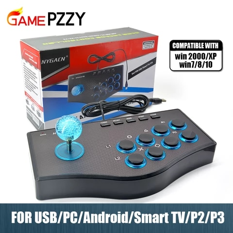 Arcade Joystick for PC For PS2/PS3 Console For Android Smart TV with 1.8 Meter Cable and Built-in Vibrator Eight Direction Joyst
