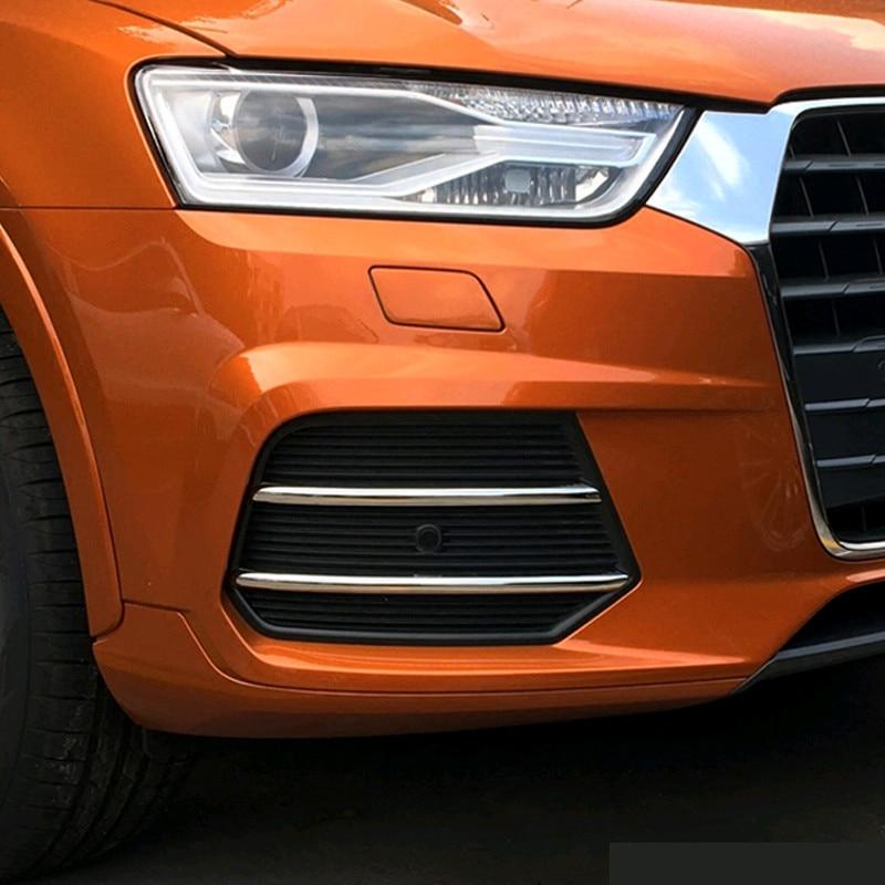 Chrome Styling Car Front Fog Lamp Decorative Trim Strip 4pcs For Audi Q3 2016-2017 Exterior Accessories Modified Stickers