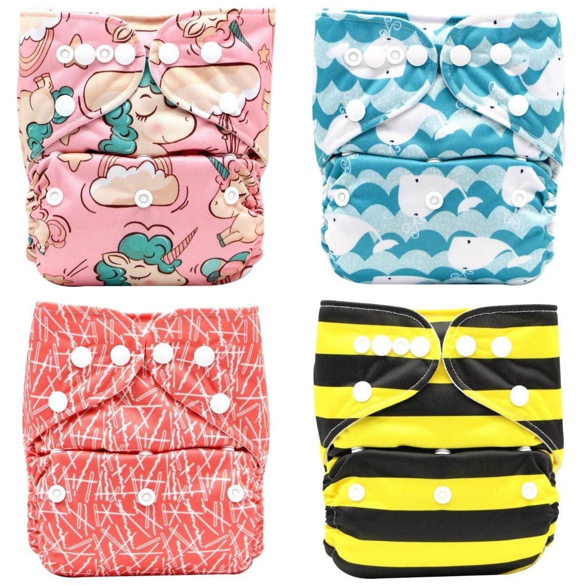 Многоразовые тканевые подгузники, регулируемые детские подгузники, экологичные подгузники для новорожденных, моющиеся подгузники, тренир...