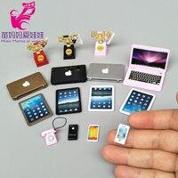 Мини-ноутбук с мобильным телефоном для 1/12 1/8 Bjd Doll Barbie Blythe Кукла Licca Шарм телефон блокнот для кукольного дома Diy Аксессуары