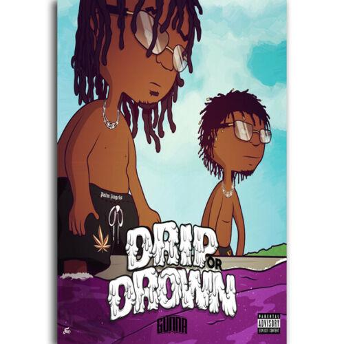 GX1677 Gunna Drip Or Drown 1 Álbum de Música de moda Hip Hop Rap Star pintura Poster impresiones lienzo pared imagen para la decoración de la habitación del hogar