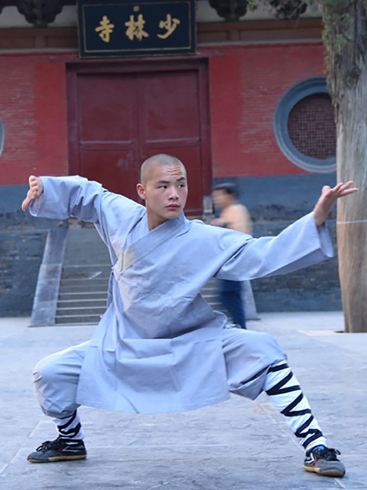USHINE 008 altura 100 cm-190 cm algodón niños ShaoLin uniforme de Kung Fu monos ropa disfraz Anzug hombre chicos
