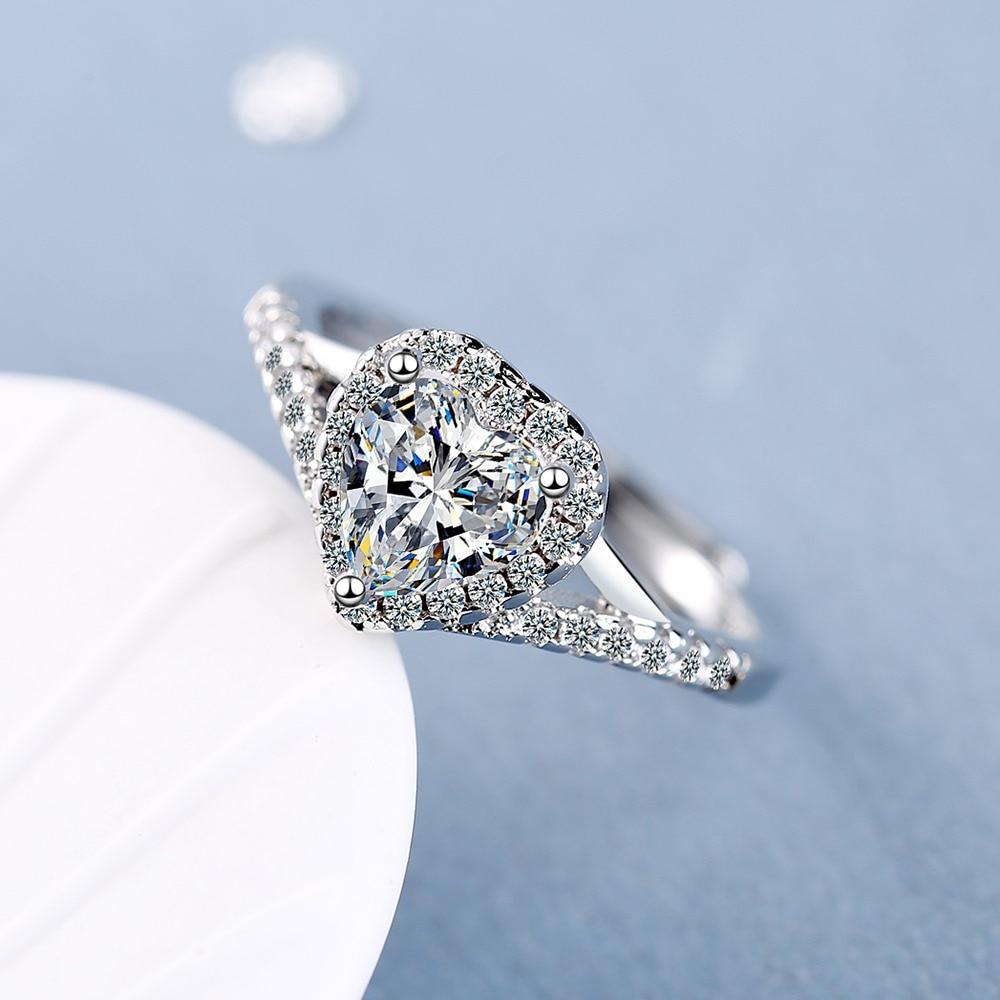 925 Sterling Silver Diamond Jewelry Ring for Women Bohemia Wedding Bands Heart Silver 925 Jewelry Anillos De Diamond Rings Box