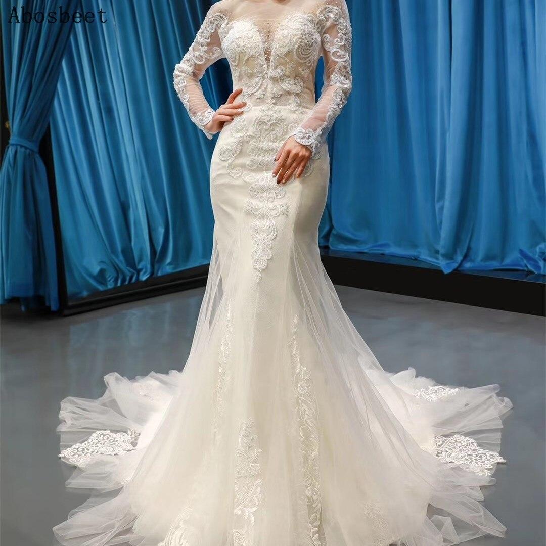 فستان زفاف حورية البحر بأكمام طويلة ، شفاف ، مثير ، قطار قابل للفصل ، أبيض/عاجي ، خرز لامع ، 2021