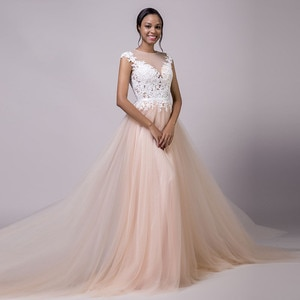 Jewel Neck Tulle Skirt With Lace Appliques Wedding Dresses See Through Back Cap Shoulder Bridal Gowns Formal Soft Robe De Mariee