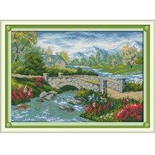 Мост река 4 Счетный крест 11CT 14CT крестиком пейзаж крестом Наборы для вышивка домашний декор рукоделие
