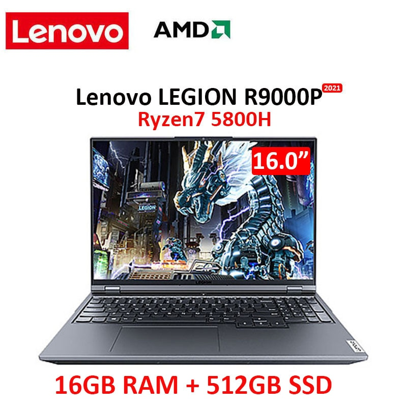 Review Professional Lenovo Legion R9000P 2021 e-sports 16inch Gaming Laptop 165Hz AMD R7-5800H GeForce RTX3060 / RTX 3070 Backlit metal