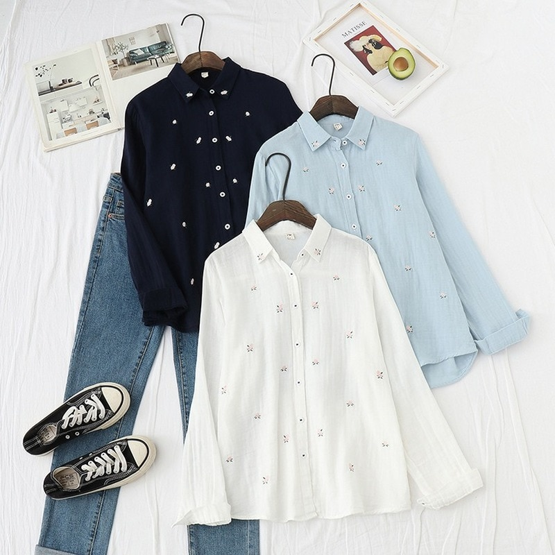 QWEEK Cottagecore Blouse Women White Collared Shirt Women Floral Embroidered Blouse Japanese Office Lady Soft Girl Cotton Shirts floral embroidered high low blouse