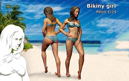 1/24 escala sin pintar resina figura Bikiny girl GK figura