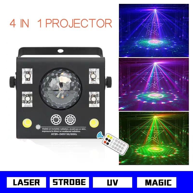 4 في 1 LED المرحلة العارض ستروب فلاش ماجيك كريستال الكرة UV الليزر تأثير بقعة إضاءة شعاعية ل DJ ديسكو البعيد Dmx وضع الموسيقى مصباح
