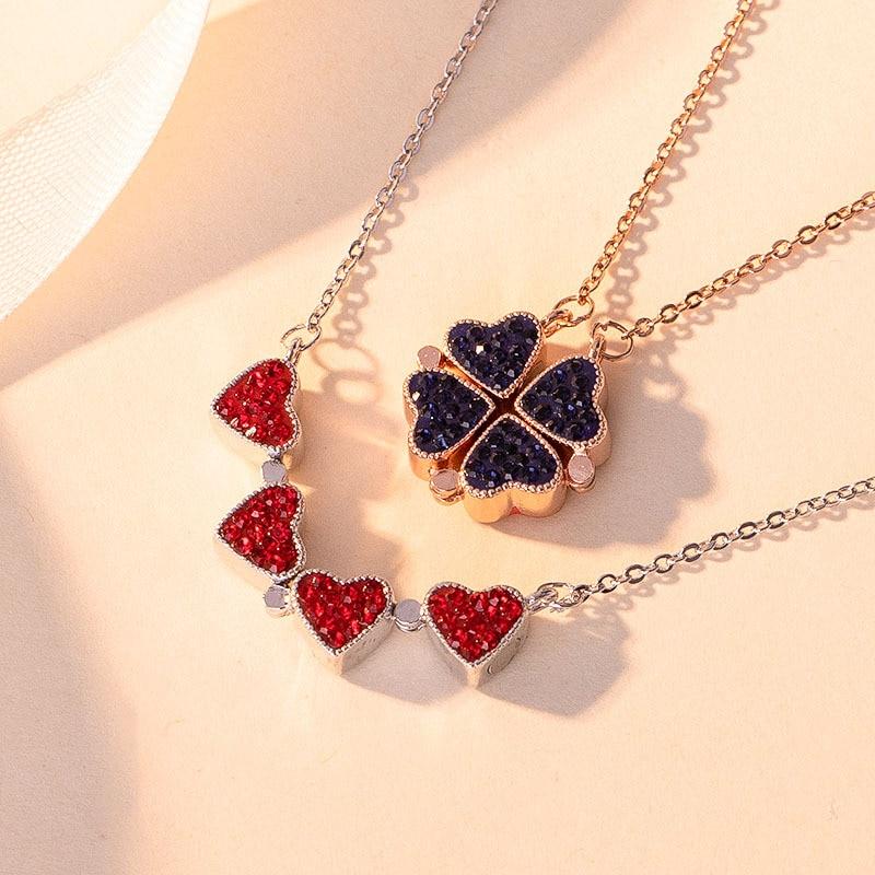 Collares de doble cara para mujer, collar coreano largo con colgante de corazón, collar con inicial, cadena de eslabones de joyas, collar femenino 2020