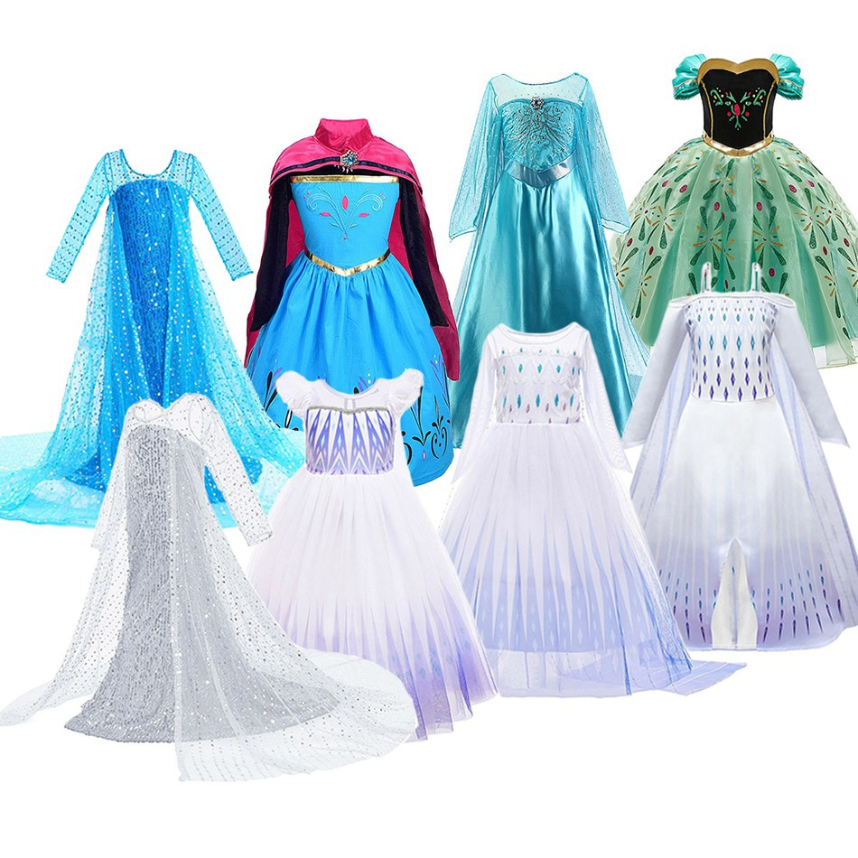 elsa gril kids fall outfits pyjama enfant anna princess birthday party roupas infantis menina halloween cosplay children clothes Girls Elsa Dress Kids Cosplay Snow Queen 2 Elza Costume Children Fancy Disguise Anna Birthday Party Princess Dresses New Clothes