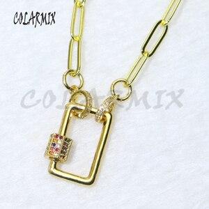 "5strands rectangle bolt pendant necklace rainbow zircon clasp pendants 18"" chain for layer necklace women fashion jewelry 50082"