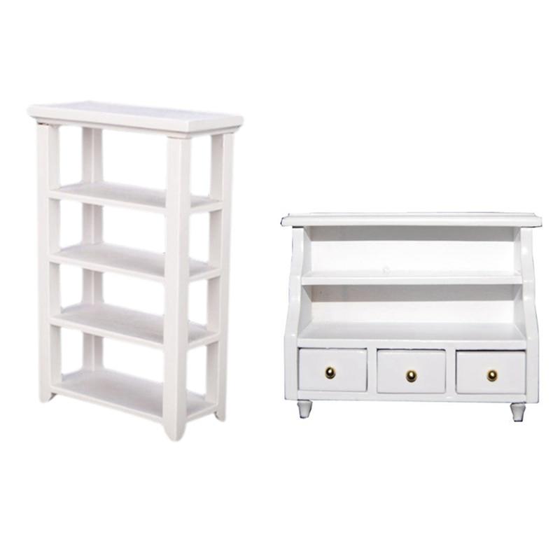 1 pçs móveis banheiro armário de vaso sanitário & 1pcs prateleira 112 casa de bonecas em miniatura móveis estudo de madeira branco