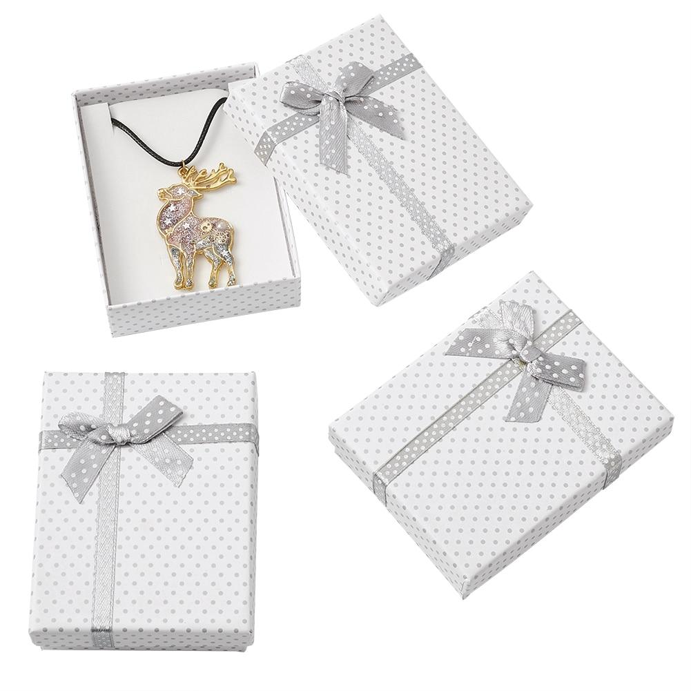Картонные коробки для ювелирных украшений 12 шт., прямоугольные подарочные коробки для ожерелий, браслетов, сережек, с бантом и губкой, 90x70x30 м...