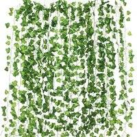 Guirlande de fausses feuilles de lierre vert  12 pieces  2M  guirlande de plantes artificielles pour decoration murale de maison  guirlande de rotin en plastique