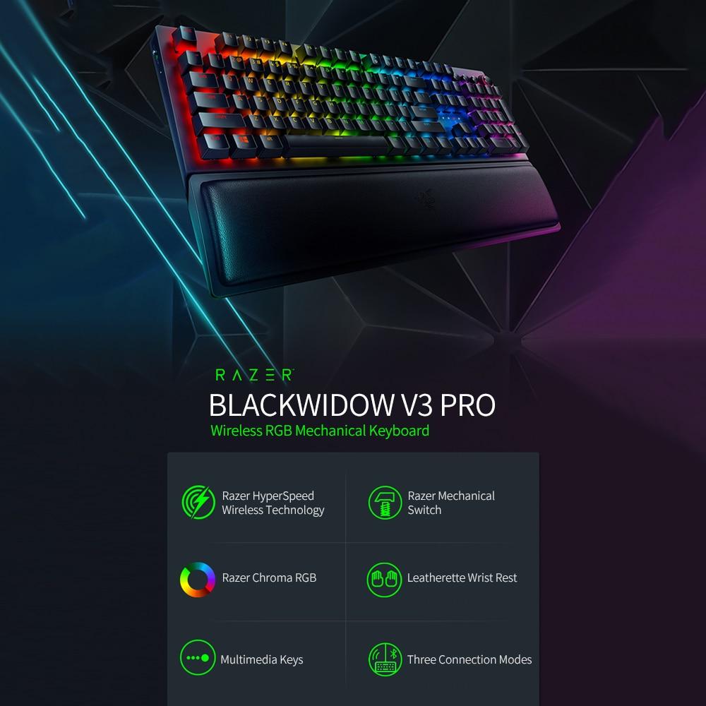 Razer BlackWidow V3 Pro Wireless Gaming Keyboard Razer Chroma RGB Mechanical Keyboard with Razer Green Mechanical Switch