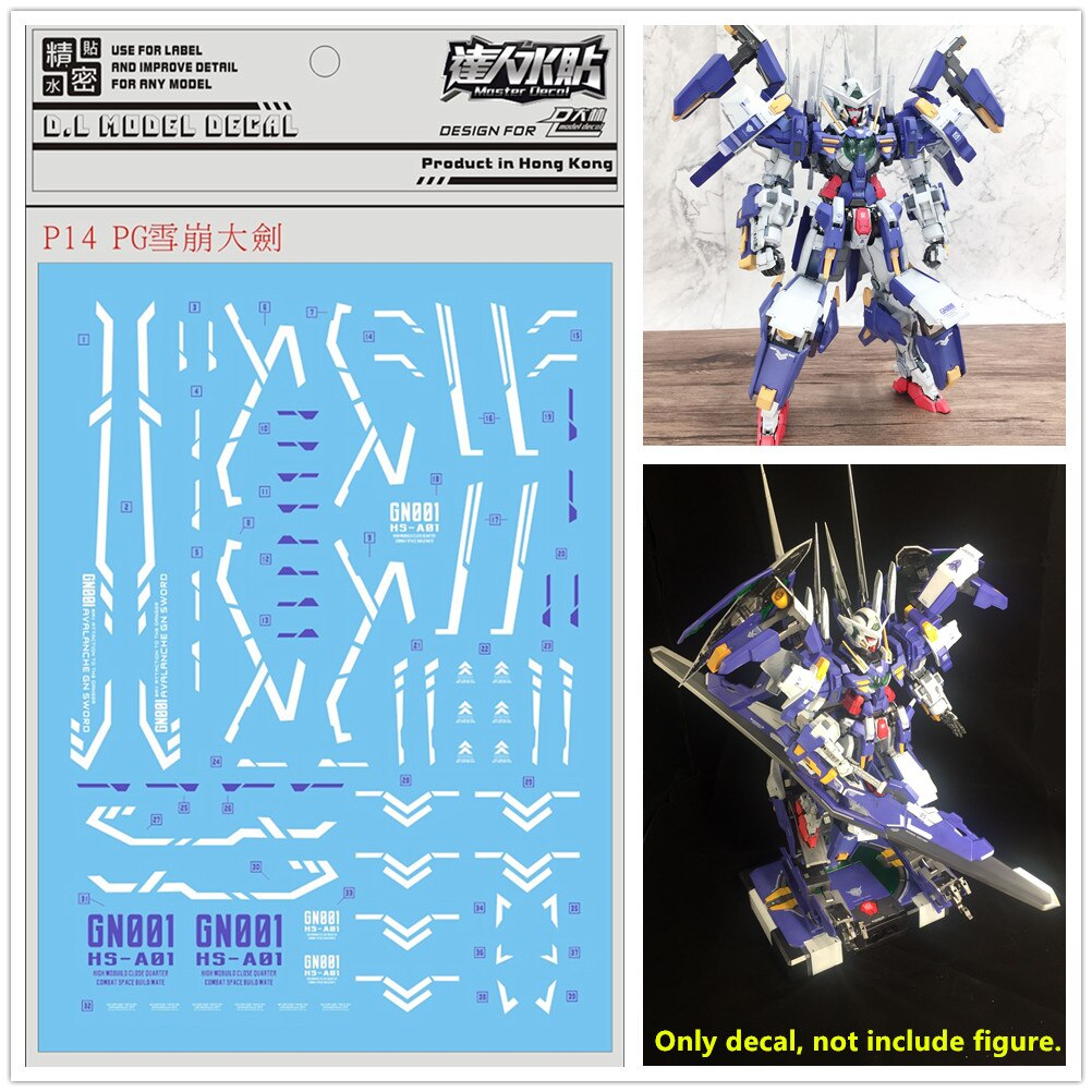 Pasta de agua adhesiva de alta calidad para Bandai PG 1/60 PG GN-00 armadura EXIA aluancha y espada GN Gundam DL159 *