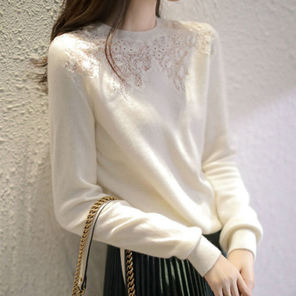 Women Mock Neck Sweater Lace White 2021 Autumn Winter New Long Sleeve Loose Temperament Women Jumper Japanese Korean Style