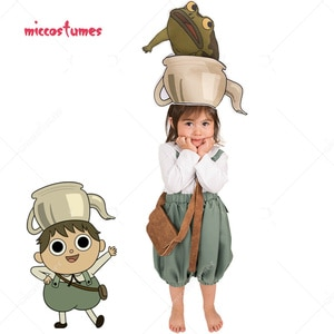 """35""""-47"""" Child Over the Garden Wall Gregory Cosplay Costume for Kids with Hat and Pet frog"""