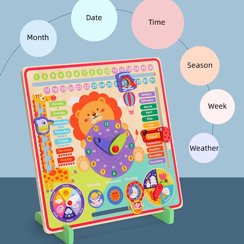 Children Wooden Early Education Calendar Learning Time Cognitive Season Weather Month Enlightenment Educational Toys