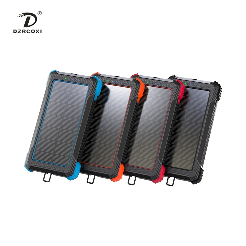 DZRCOXI ZL803 Power Bank Solar Charger 2 USB Ports Supporting Wireless Charging For Xiaomi IPhone Sumsung with LED Light