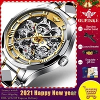 mens watches oupinke top brand tungsten steel chronograph waterproof sport automatic date mechanical wristwatch watch for mens