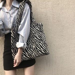 Zebra Large Capacity Fashion Canvas Shoulder Bag for Women Luxury New Shopping Tote Bag Casual Travel Underarm Books Bag Handbag