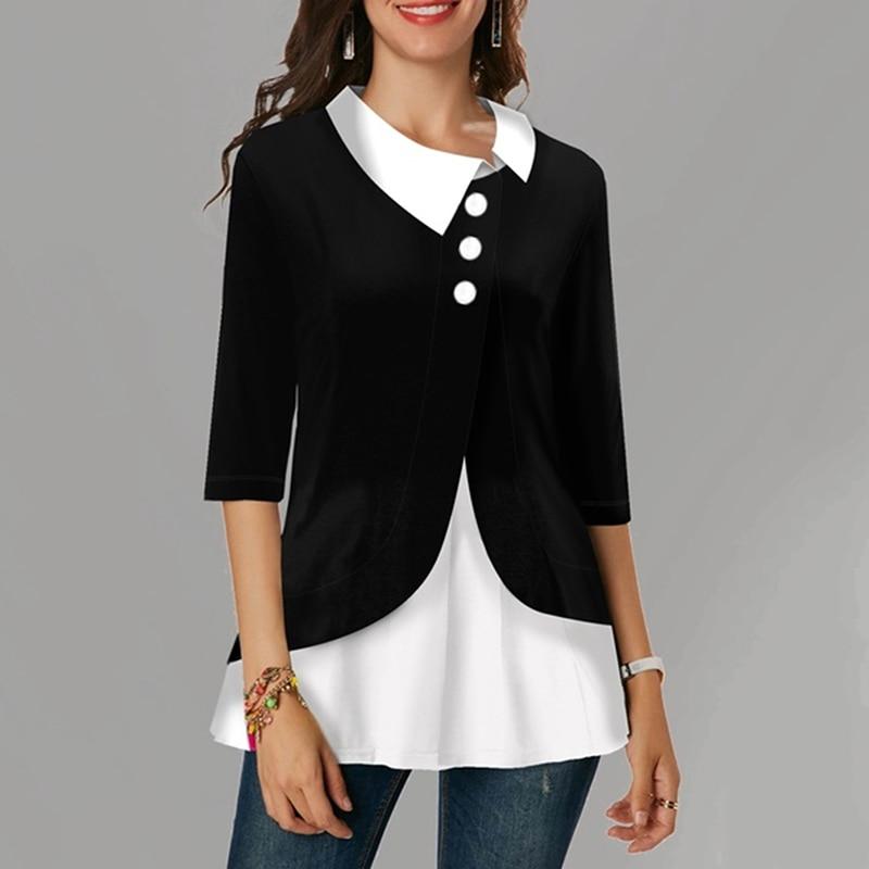 GAOKE Autumn 3/4 Sleeve Vintage Cotton Blouse Women Pacthwork Shirt Casual Tunic Tops Femininas Plus Size Blusas Chemise
