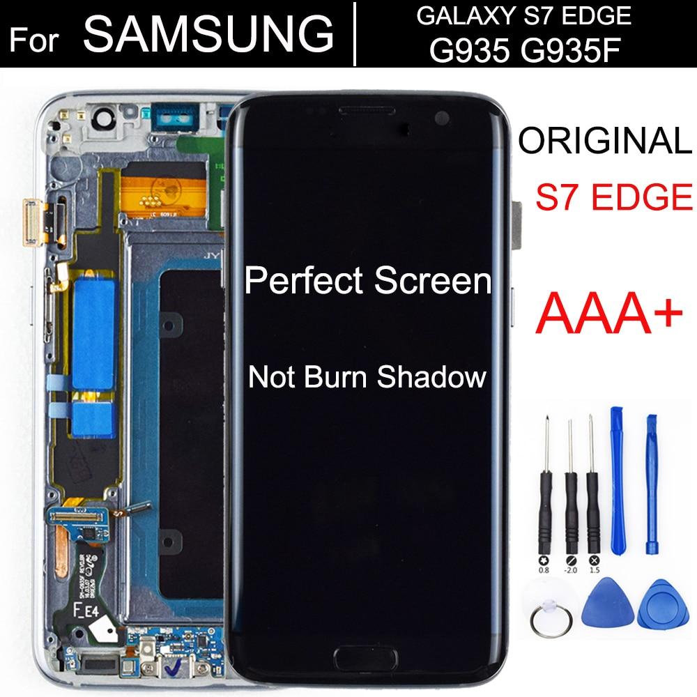 شاشة SUPER AMOLED LCD تعمل باللمس مع شاسيه ، 5.5 بوصة ، لهاتف SAMSUNG Galaxy s7 edge G935 G935F ، أصلي AAA