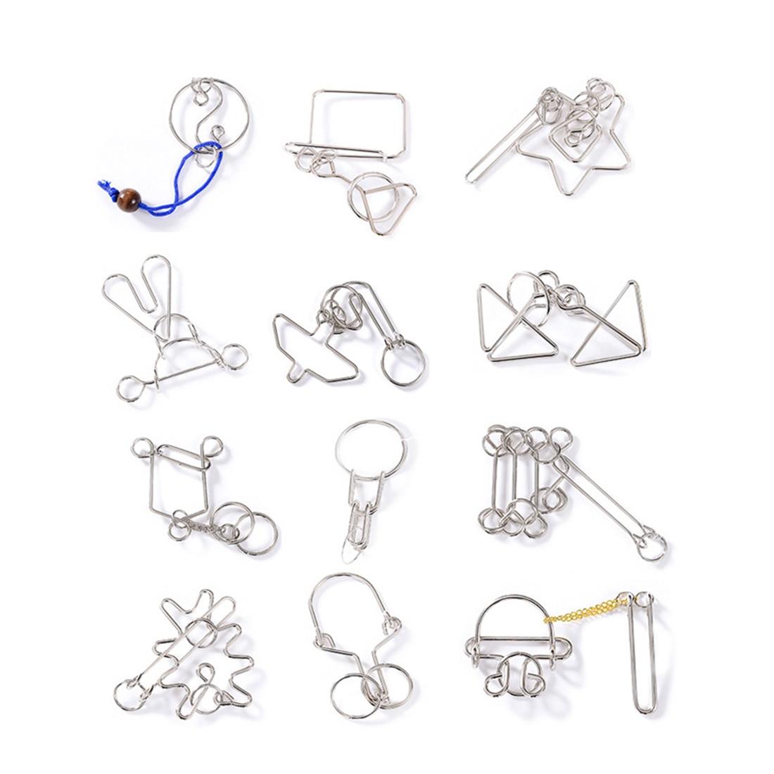 12 шт./компл. металлические головоломки Пазлы Обучающие ствол игрушка для детей и взрослых-желтый/синий ящик