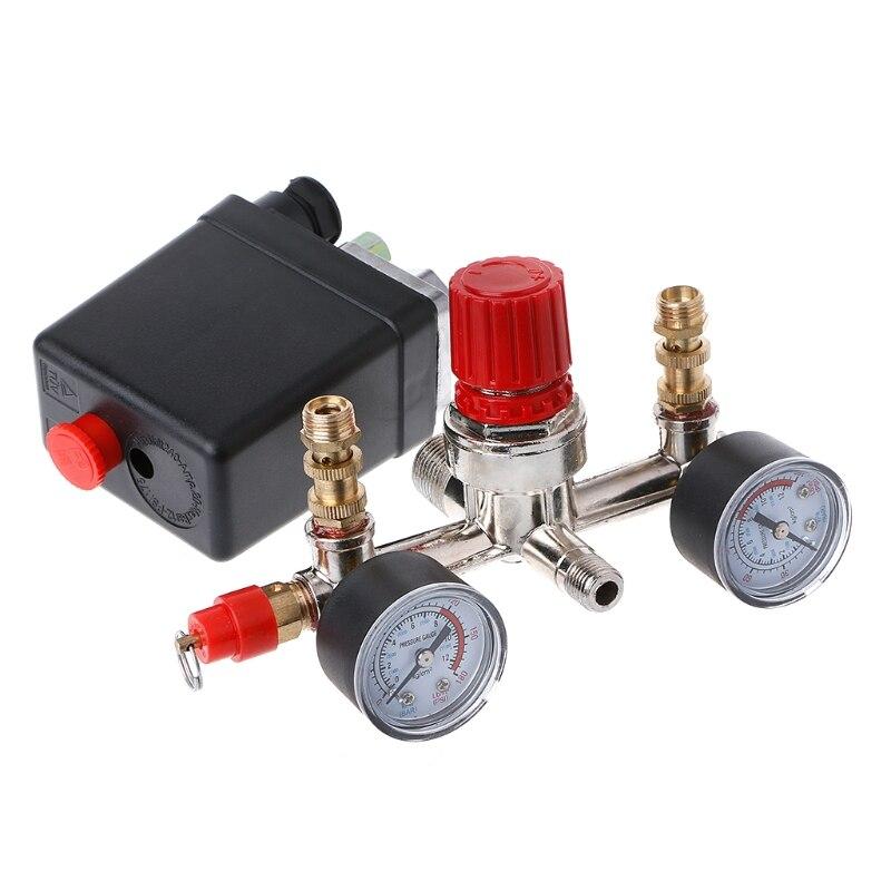 Сверхмощный воздушный компрессор P15D, переключатель контроля давления насоса + регулятор клапанные манометры