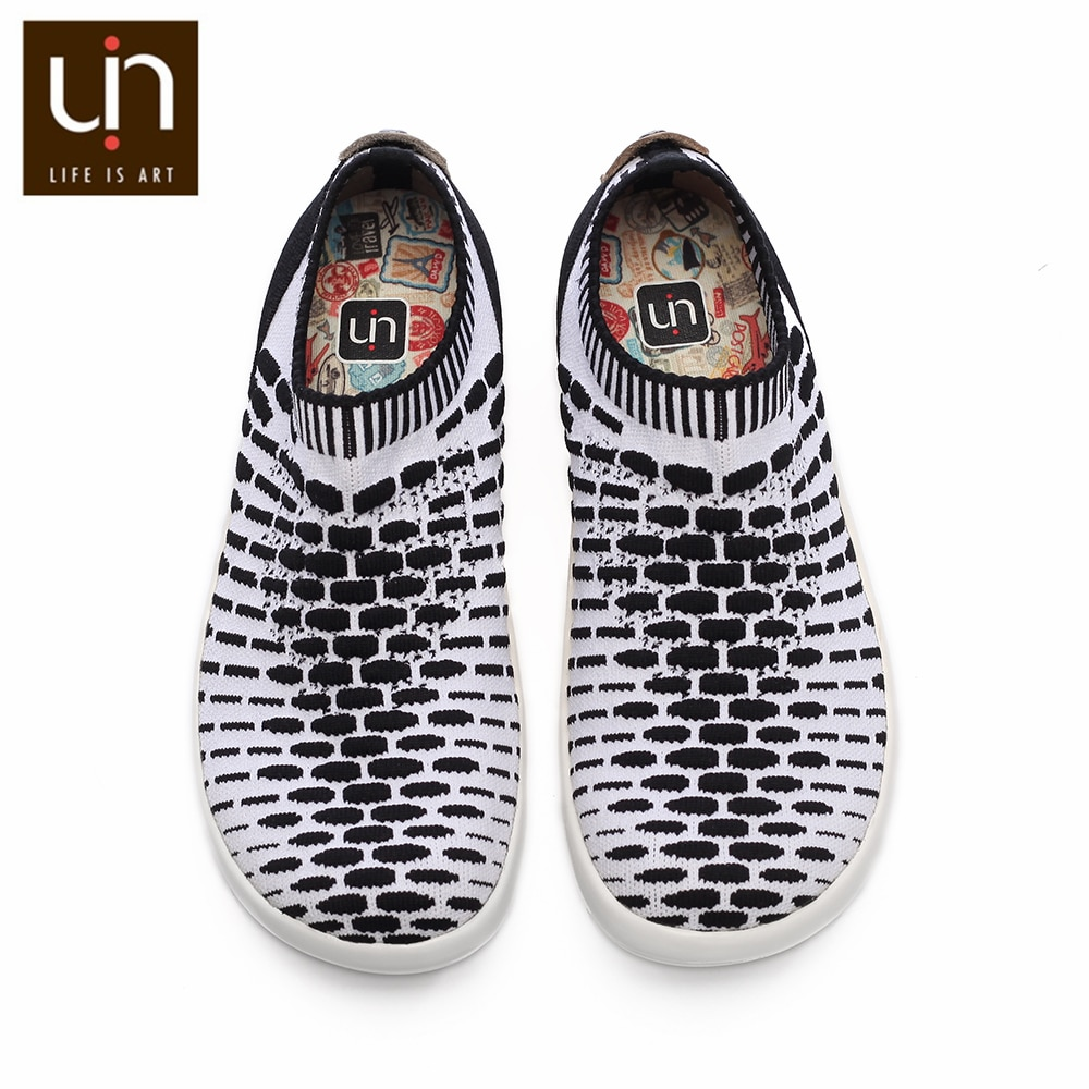 UIN Sicily Series Breathable Knitted Shoes for Kids Black/Red Casual Loafers Children Soft Sneakers Boys/Girls Fashion Shoes