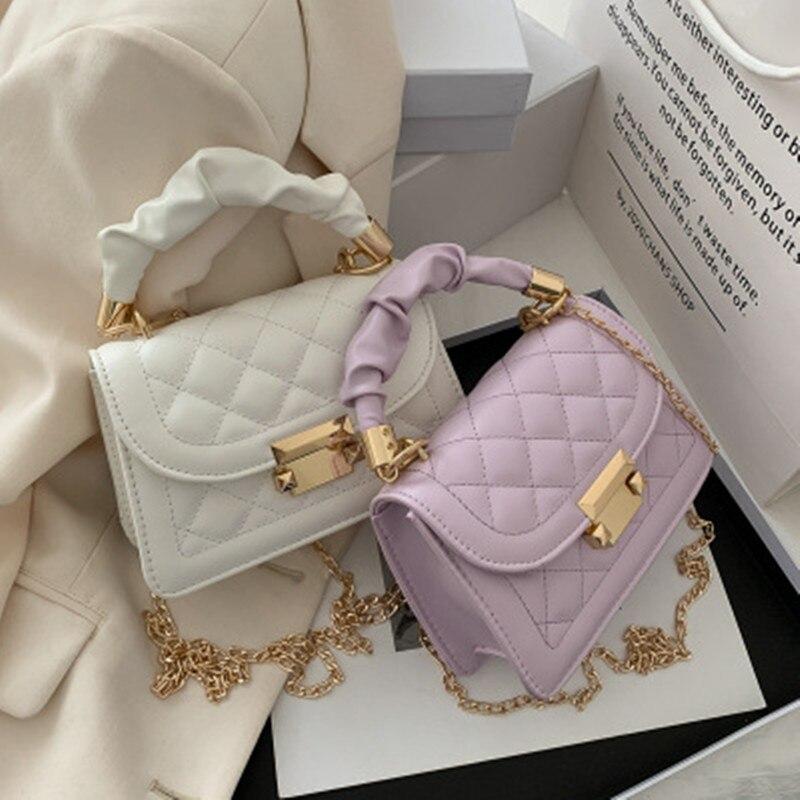 Bolso de compras exquisito de moda Retro Casual mujeres bolsos grandes de hombro de cuero femenino Color sólido mini cadena bolso 2020 nuevo