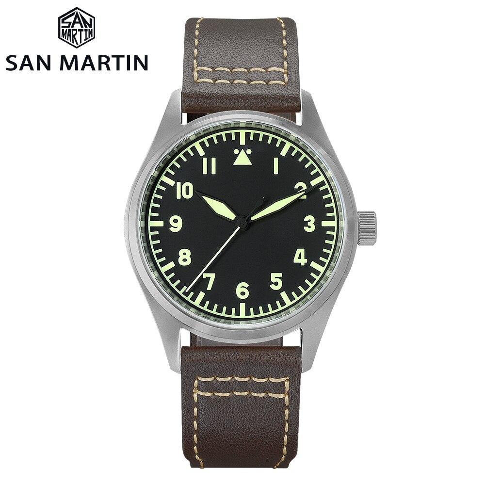 San Martin Pilot Titanium Vintage Military Enthusiasts NH35 Automatic Mechanical Men Watch Leather S