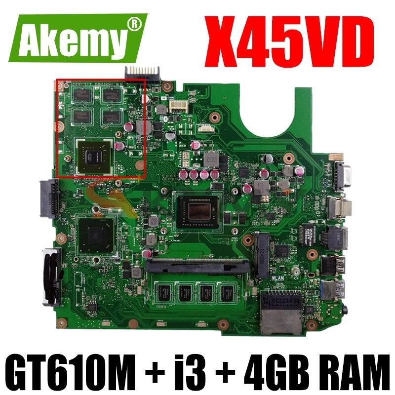 X45VD اللوحة الأم للكمبيوتر المحمول ASUS X45V X45VD اللوحة الأم 100% اختبار ث/GT610M وحدة معالجة الرسومات + i3 وحدة المعالجة المركزية + 4GB RAM