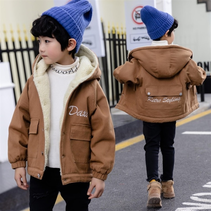 Boys' autumn and winter clothes padded jacket cotton-padded clothes handsome children Winter style with Fleece quilted cotton enlarge